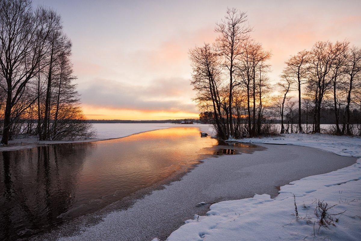 зима,река,озеро,вечер,свет,берега,лед,снег,пейзаж, Евгений Плетнев