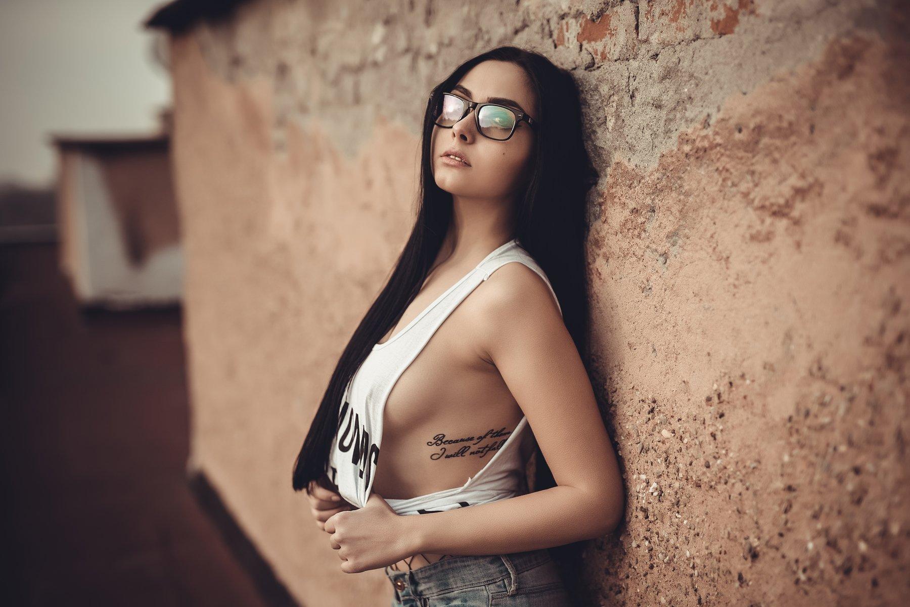 sexy, model, fashion, erotic, lips, body, fabric, retouch, sunset, tatoo, glasses, Atanas Petkov