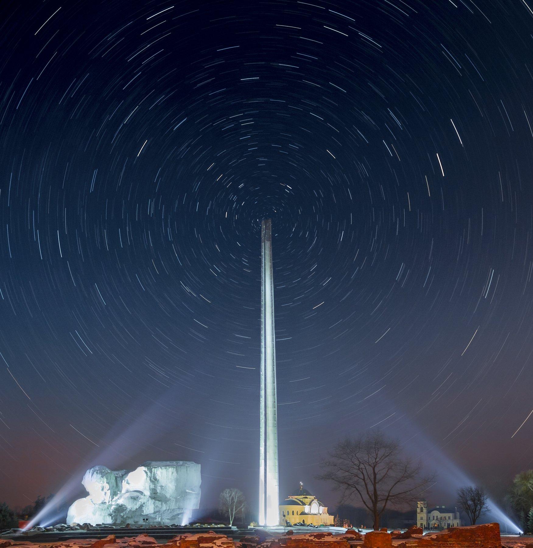 ночь, небо, звезды, брест, крепость,, Фото Брест