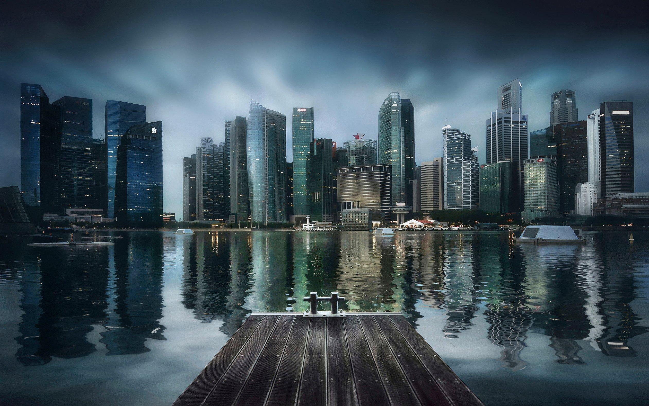 город, архитектура, небоскребы, пирс, залив, азия, сингапур, мегаполис, Алексей Ермаков
