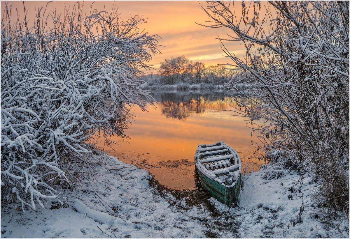 река,зима, закат, беларусь, Andrew Kuzmin