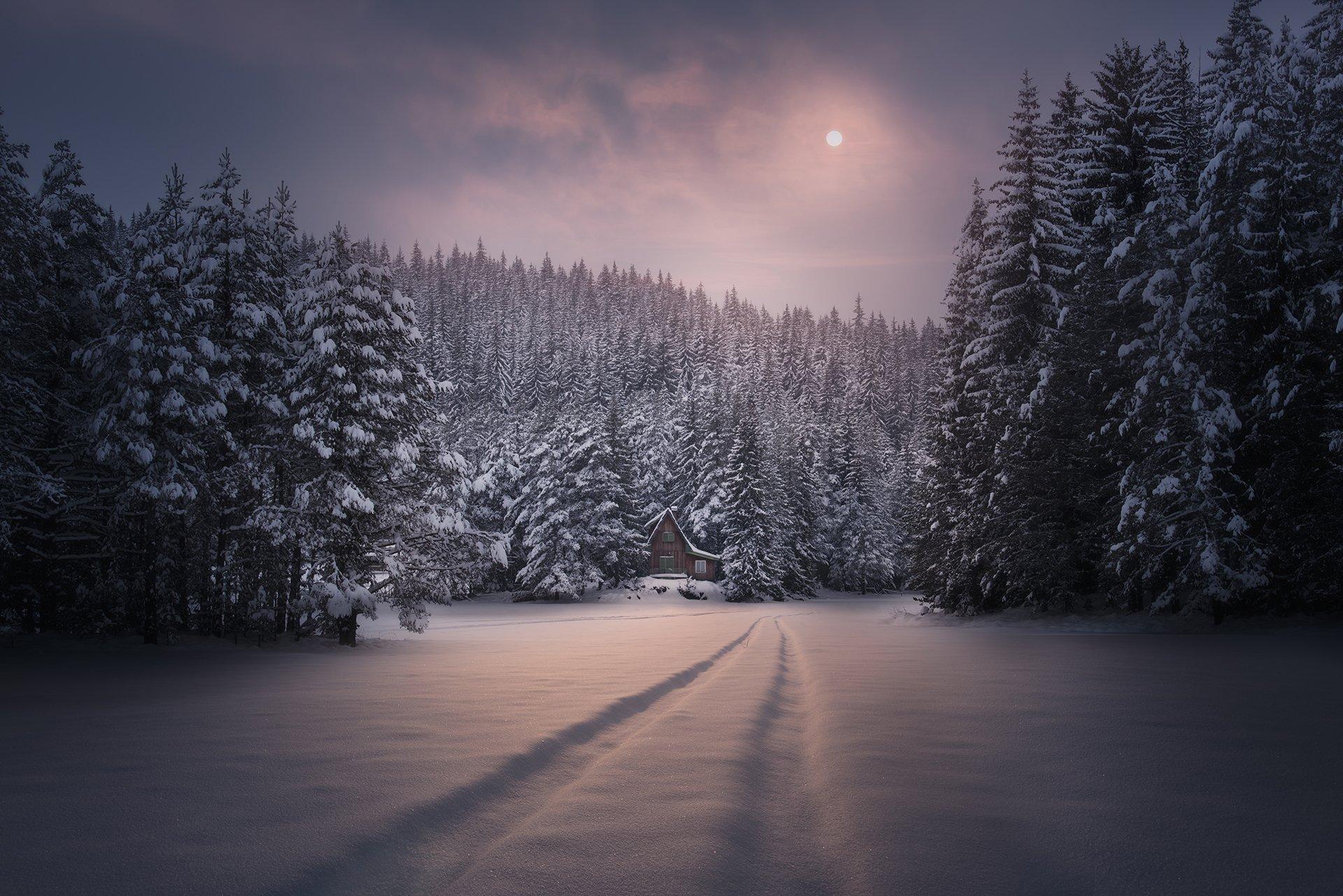 пейзаж, природа, landscape, nature, winter, hut, Genadi Dochev