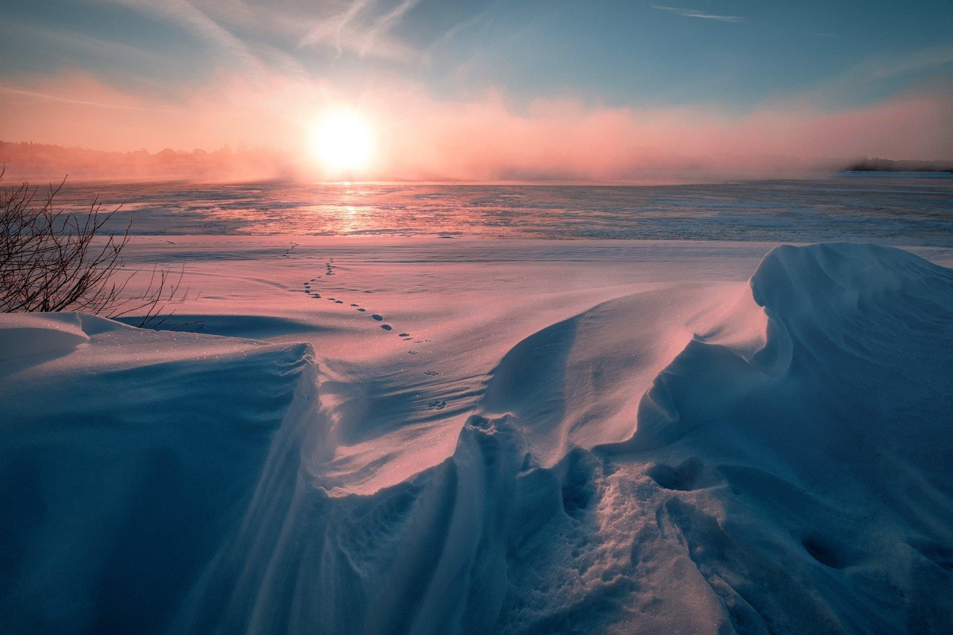 пейзаж, зима, снег, солнце, свет, волга, утро, холод, мороз, март, туман, Андрей Чиж