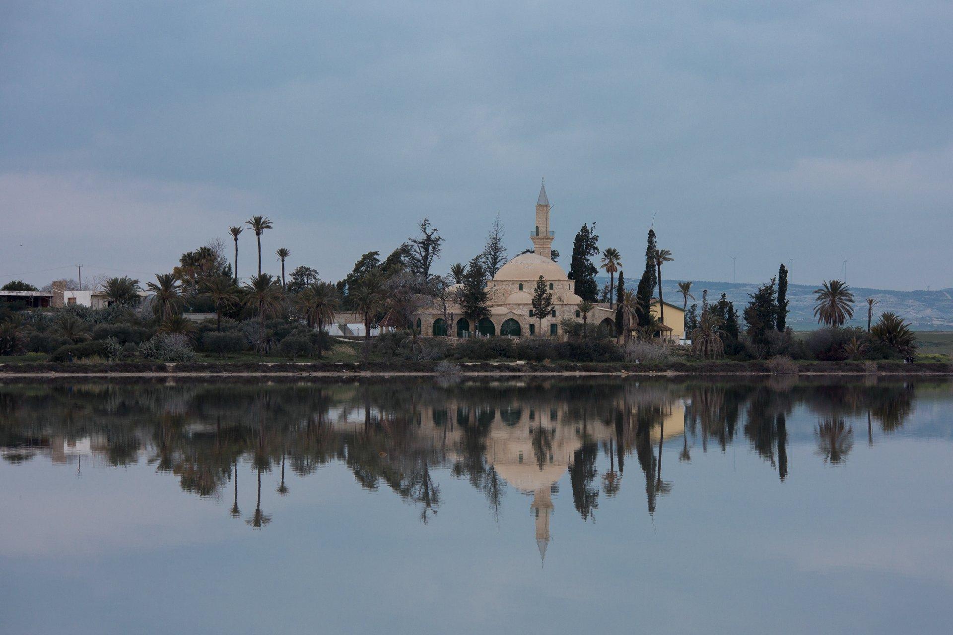 мечеть, кипр, ларнака, озеро, закат, отражение, вечер, святыня, мусульманство, Илья Беленький