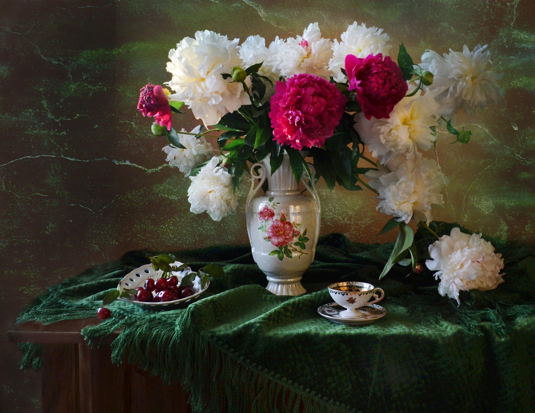 still life, натюрморт, вишня, фарфор, июль, лето, пионы, стихи, фото натюрморт, цветы, Колова Валентина
