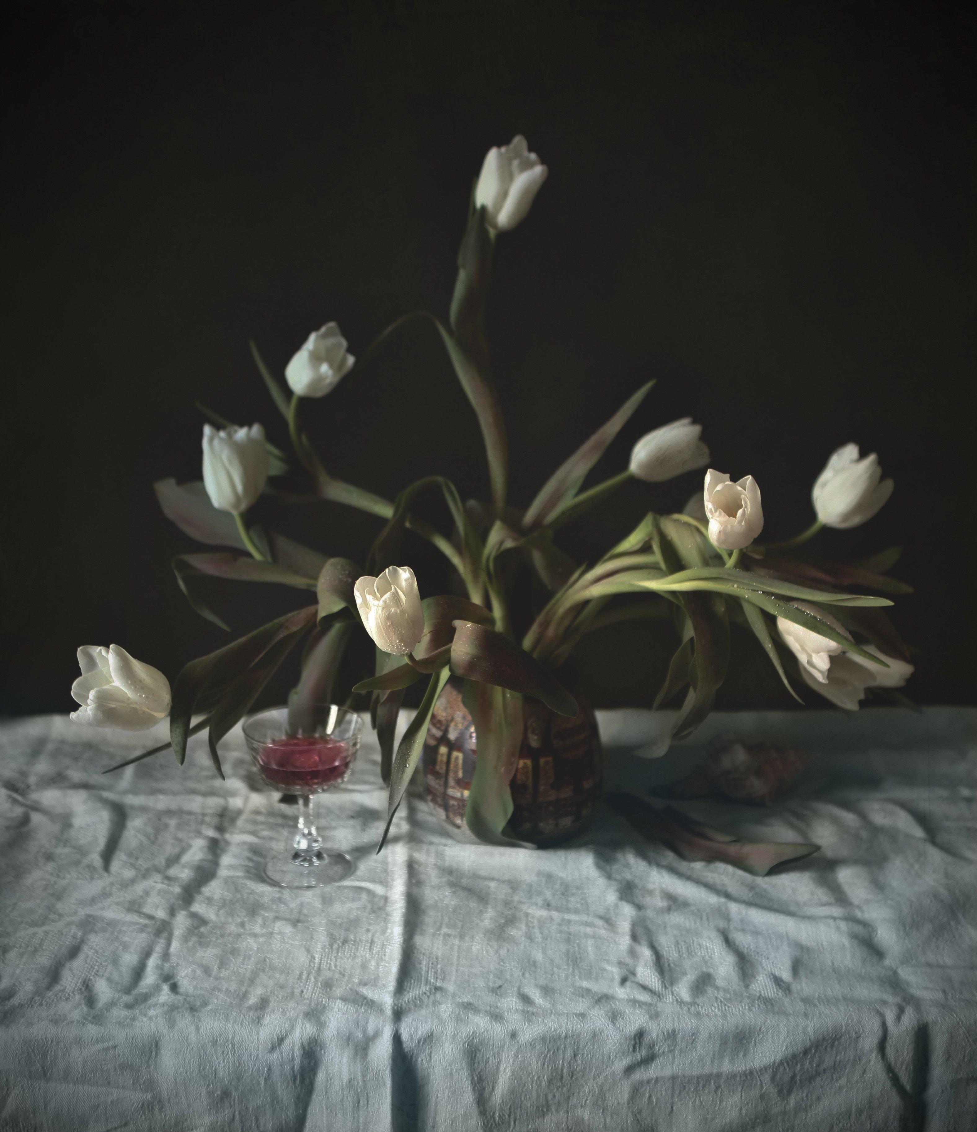 white, tulips, flowers, wine, glass, shell, Andrei Blank