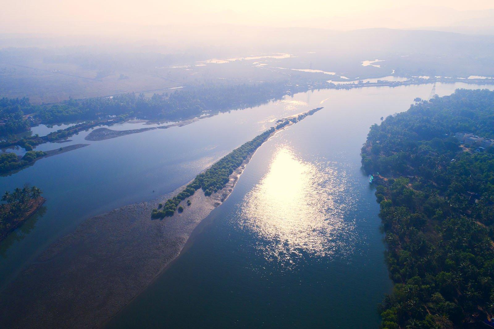 Индия, Гоа, река Сал, восход, туман, дрон, aerial, Борис Резванцев
