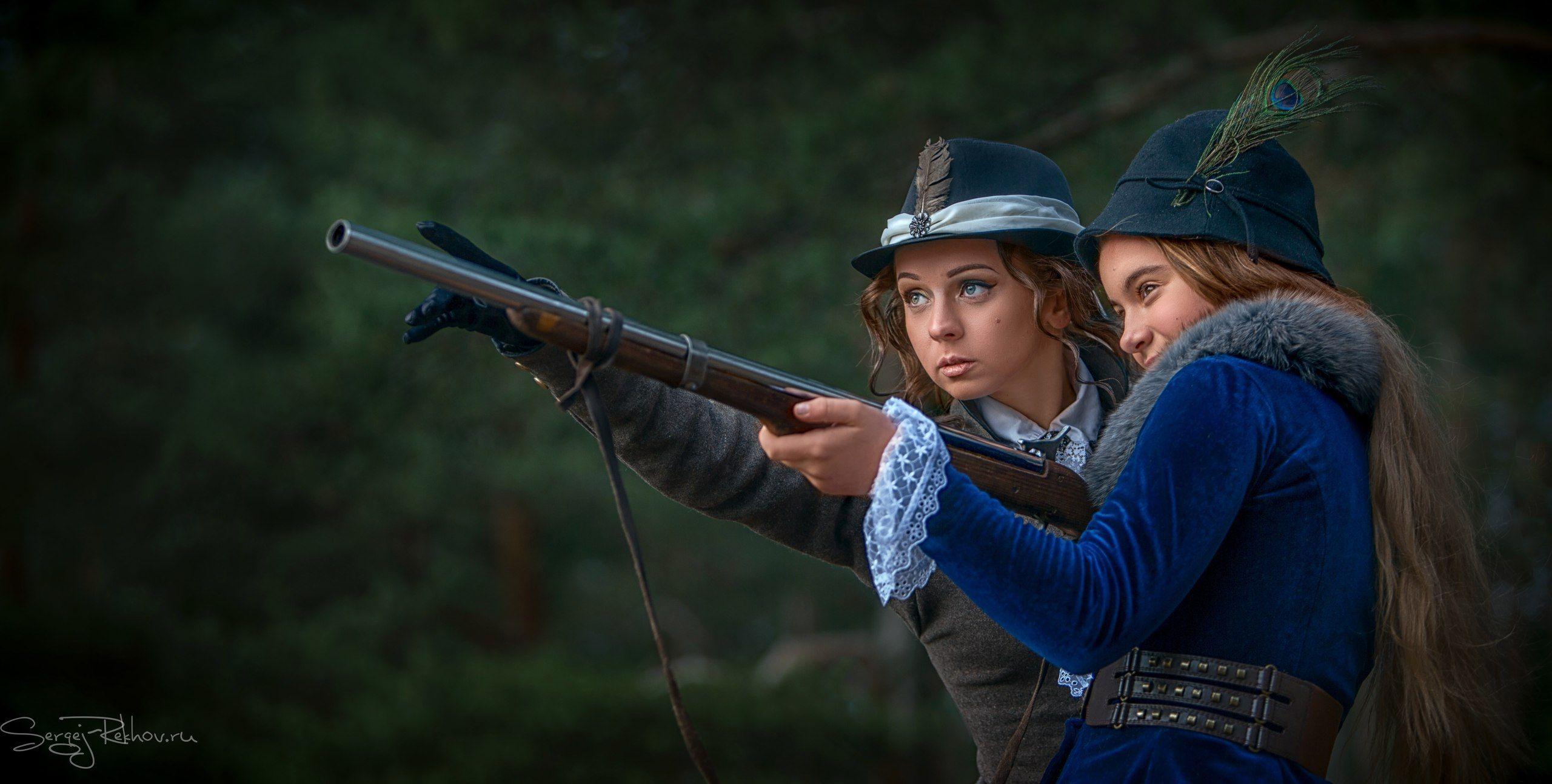 охотник, подруги, ружьё, лес, выстрел, rekhov, sergejrekhov, Сергей Рехов