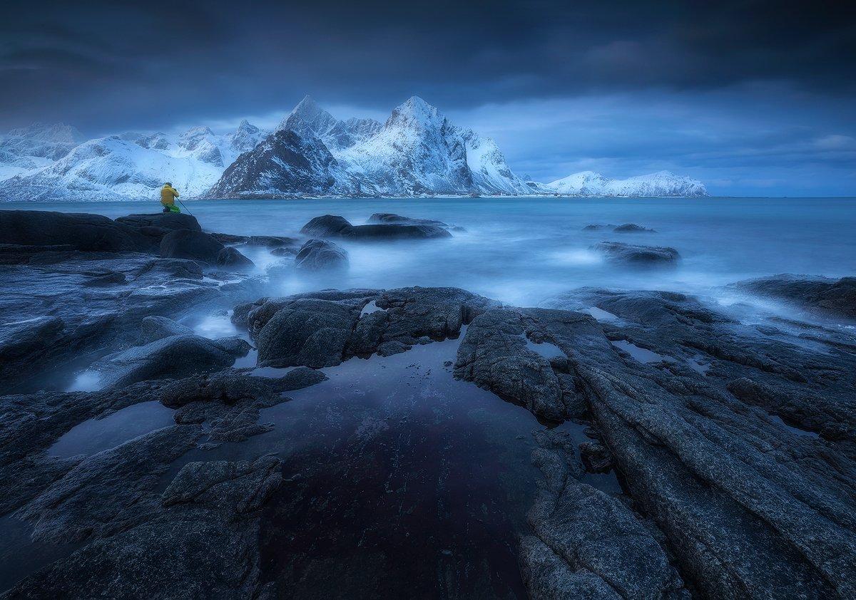 vareid lofoten norway blue hour sea ocean rocks mountains winter clouds , Roberto Pavic