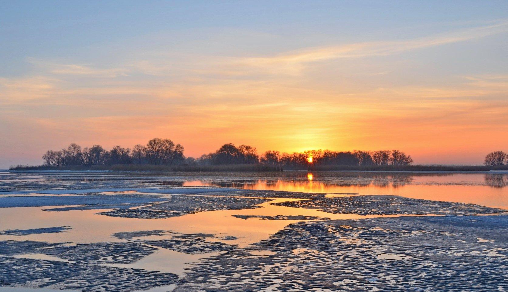 март, восход, рассвет, река, лёд, Валерий Наумов
