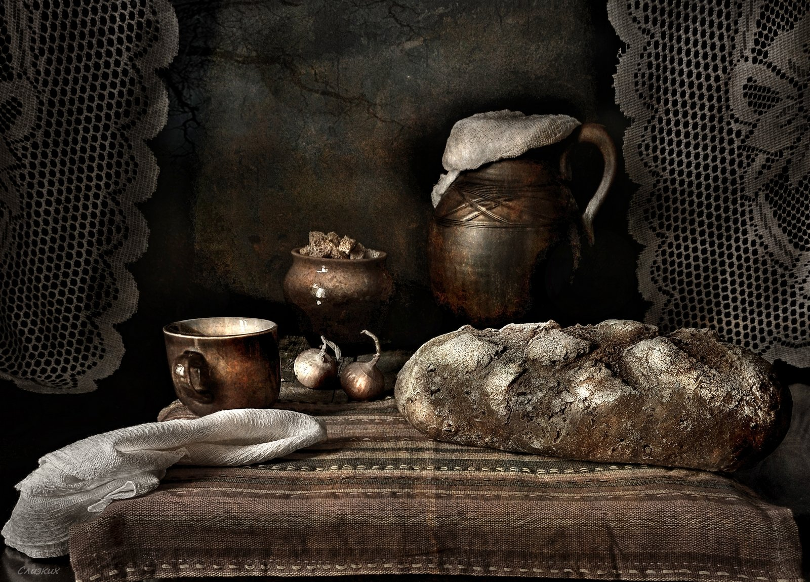 натюрморт,хлеб,традиция,кувшин,лук,весна,русь, Инаида