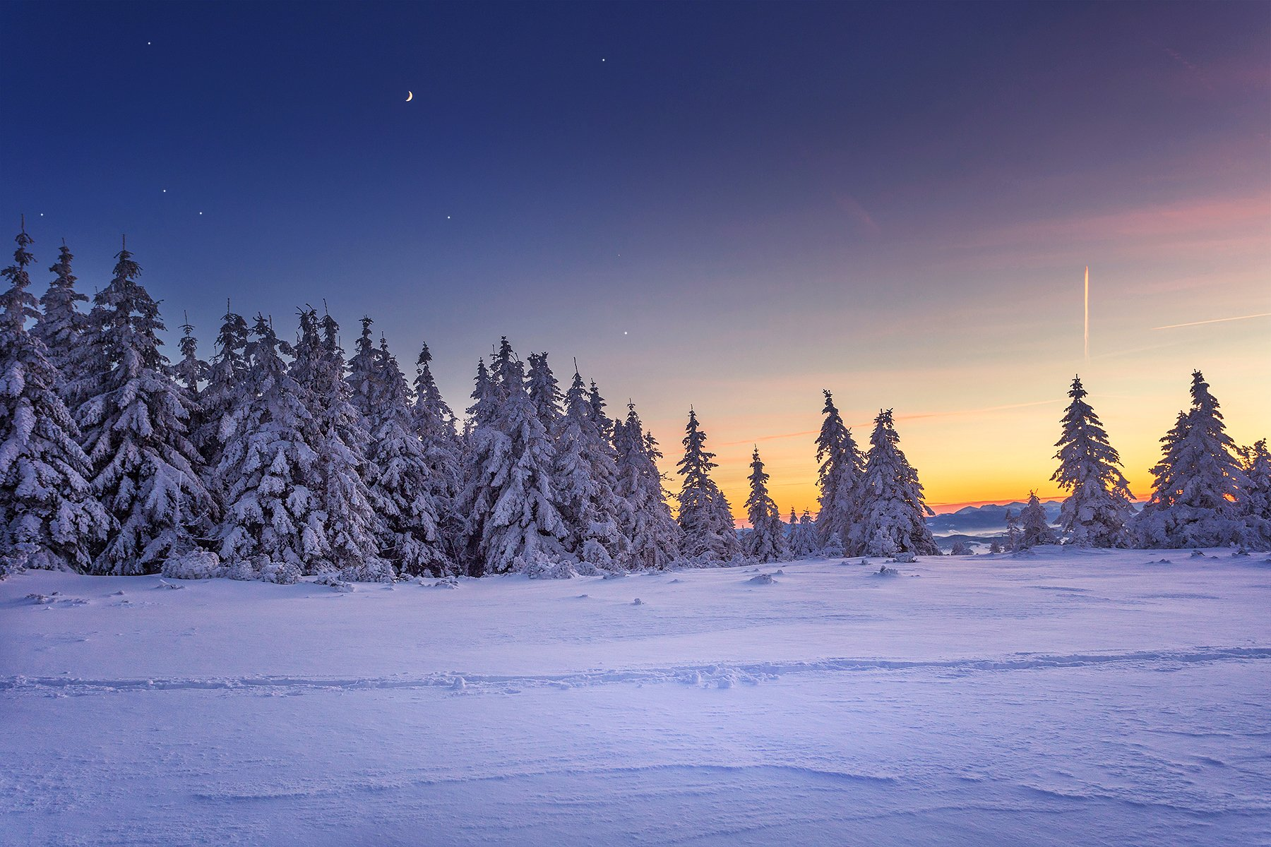 winter, night, sunset, stars, trees, Beskids, Poland, snow, Patrycja