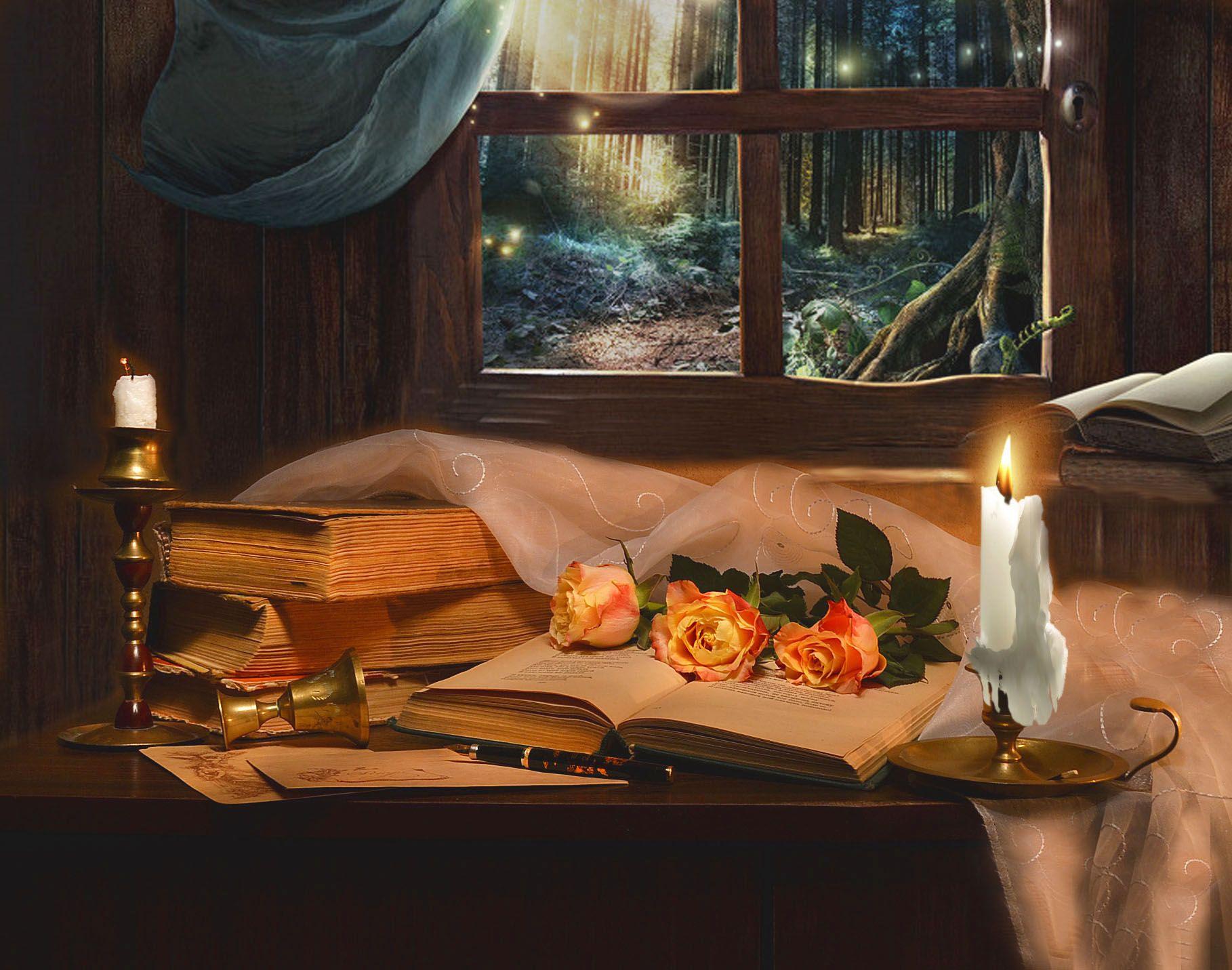 still life, натюрморт , апрель, весна, книги,  подсвечник, розы, свечи,  стихи, фото натюрморт, цветы, Колова Валентина