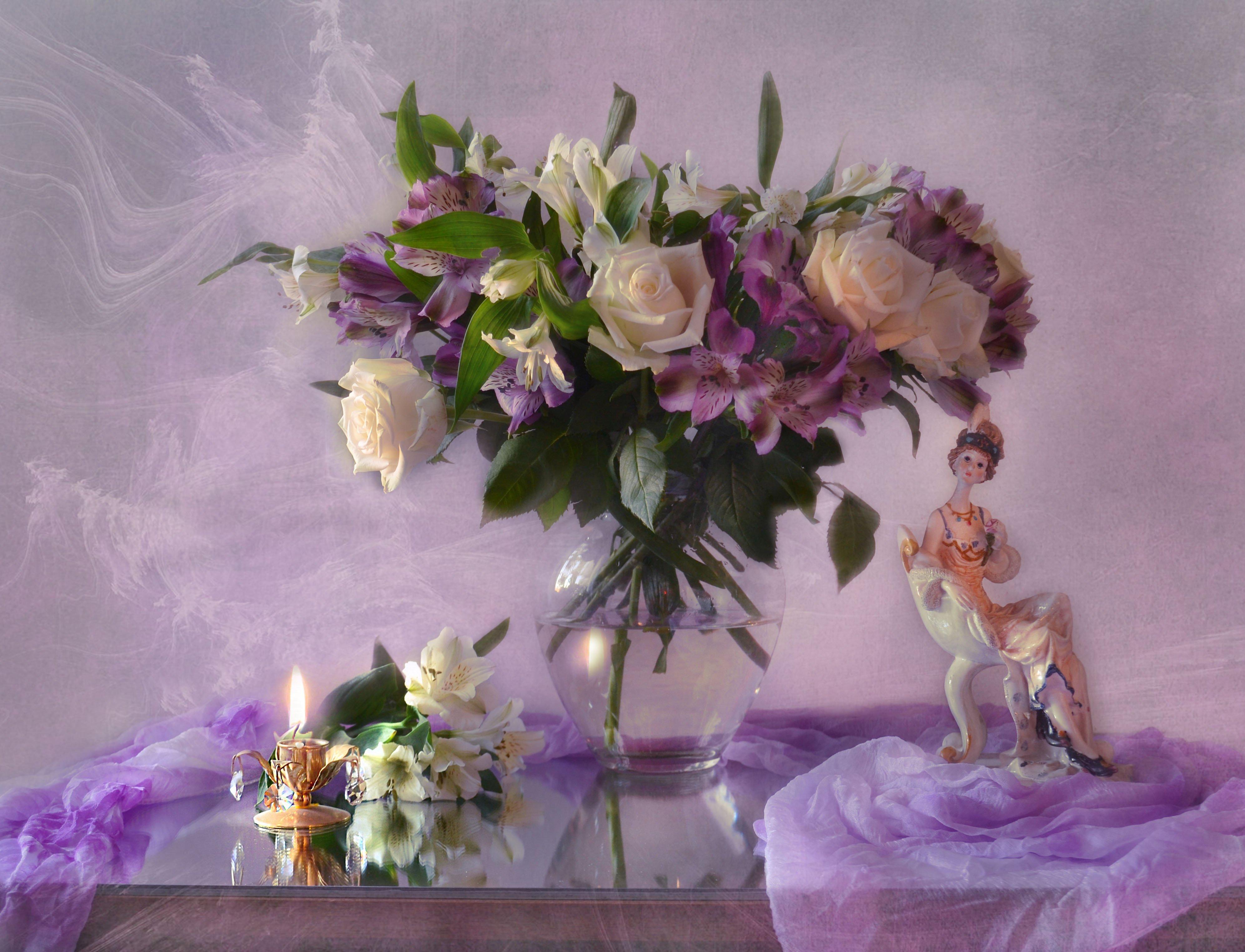 still life, натюрморт ,закат, зеркало, майский, отражение, подсвечник, розы, свеча, статуэтка, стихи, фарфор, фото натюрморт, цветы, Колова Валентина