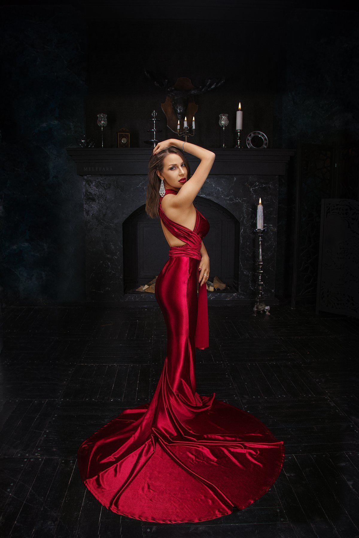 портрет, portrait, woman, beautiful, красивая , жизнь , life, red, dress, Сергей Мелефара