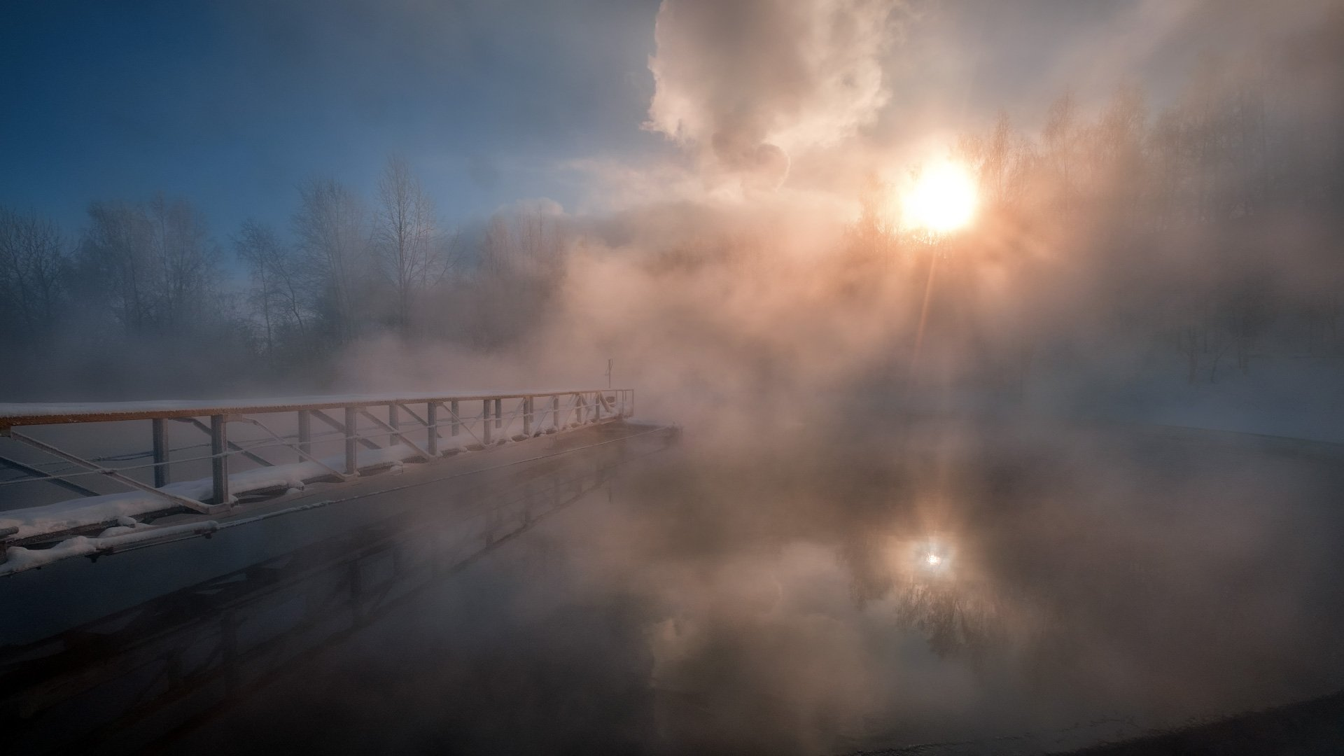 пейзаж, зима, туман, пар, лед, снег, утро, рассвет, восход, мороз, холод, пермь, пермский край, пцбк, Андрей Чиж