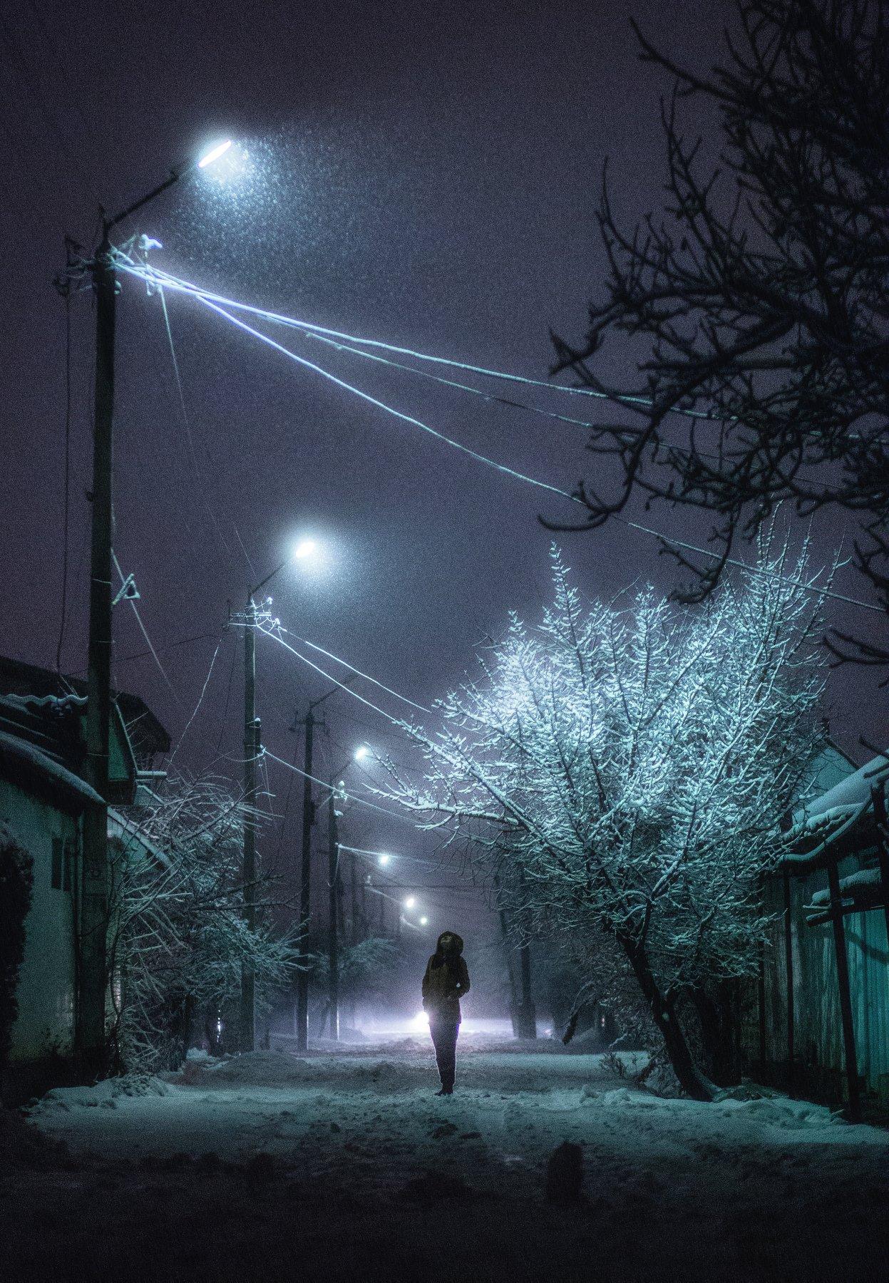 зима, ночь, снег, улица, лампа, street, night, winter, snowfall, Марат Сайранбаев