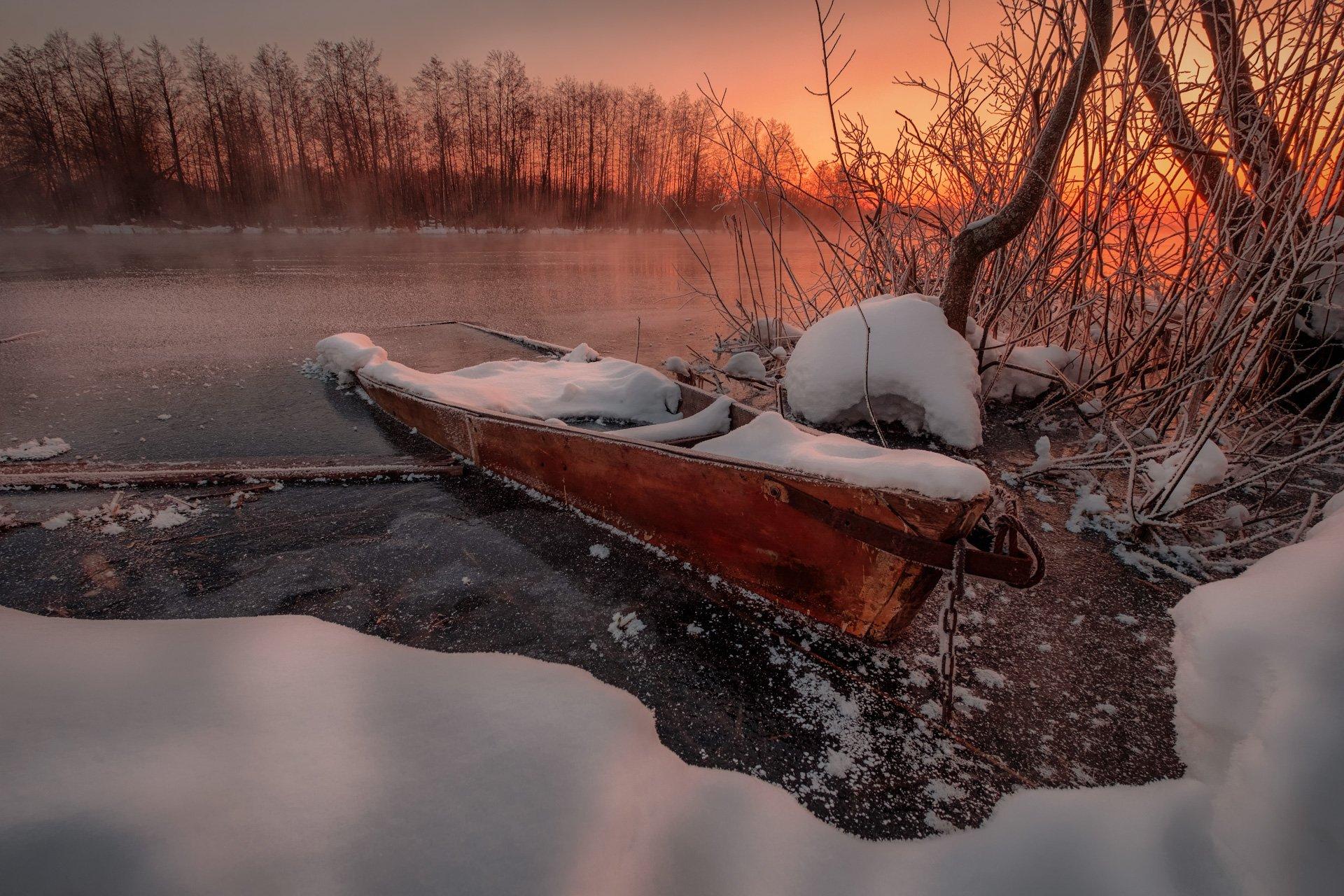 пейзаж, зима, пруд, озеро, снег, утро, рассвет, восход, мороз, холод, лодка, шатура, Андрей Чиж