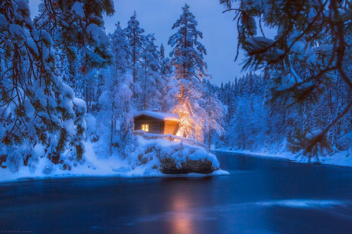 финляндия, лапландия, снег, ночь, река, лес, холмы, зима, новый, год, сказка, свет, light, snow, wind, travel, lapland, finland, Максим Сластников