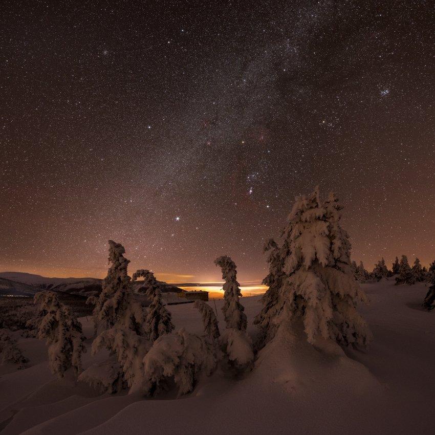 stars, snow, galaxy, milky way, czech, czech republic,mountains,orion, Jakub Müller
