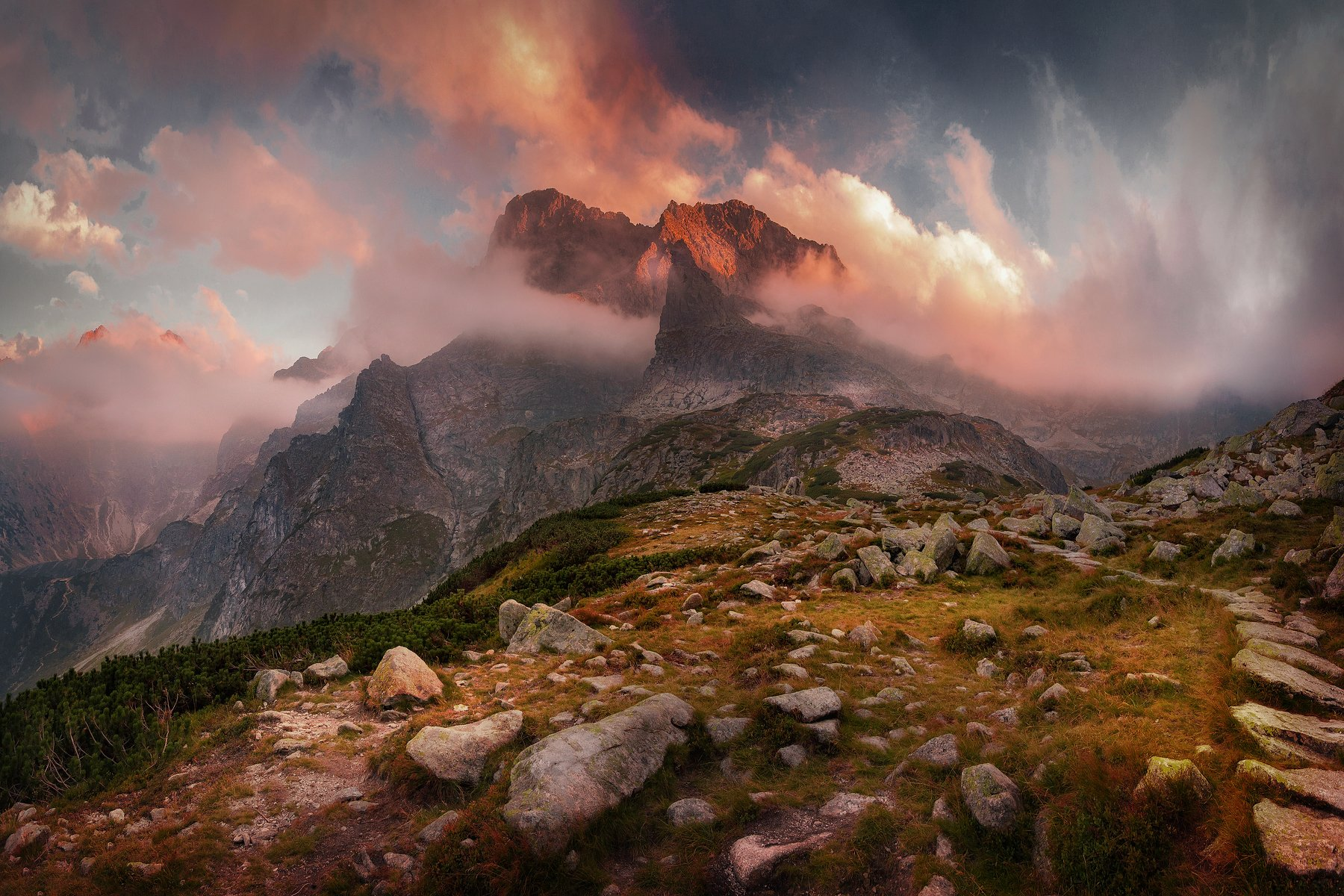 sunset, surise, clouds, mountains, expresive, Tatras, Poland, , Patrycja