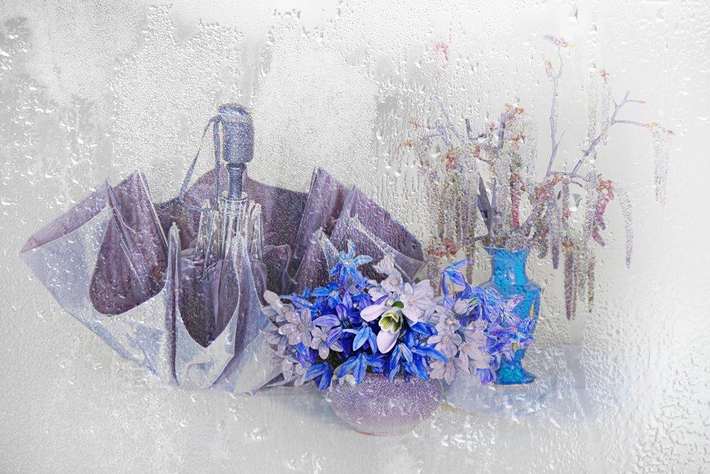 весна, перво цветы, натюрморт , зонтик ,, Вера  Павлухина