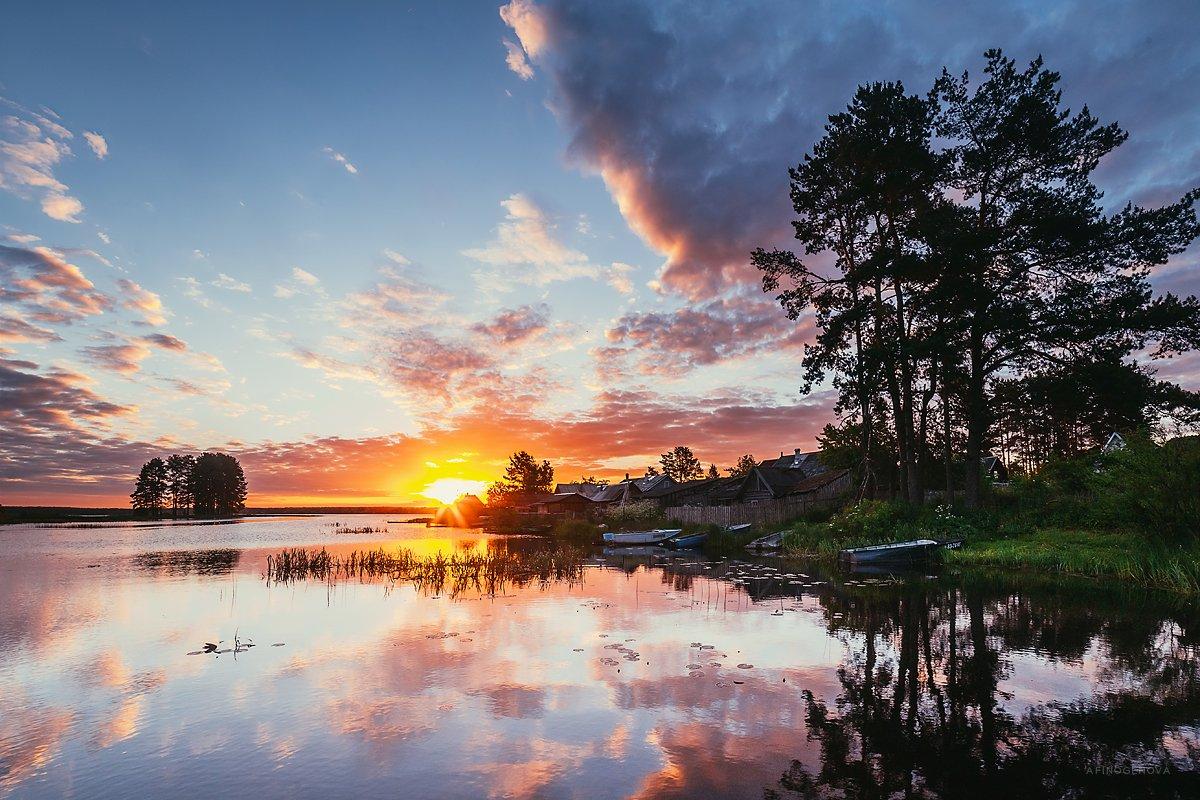 утро, рассвет, солнце, лето, вода, отражение, Афиногенова Татьяна