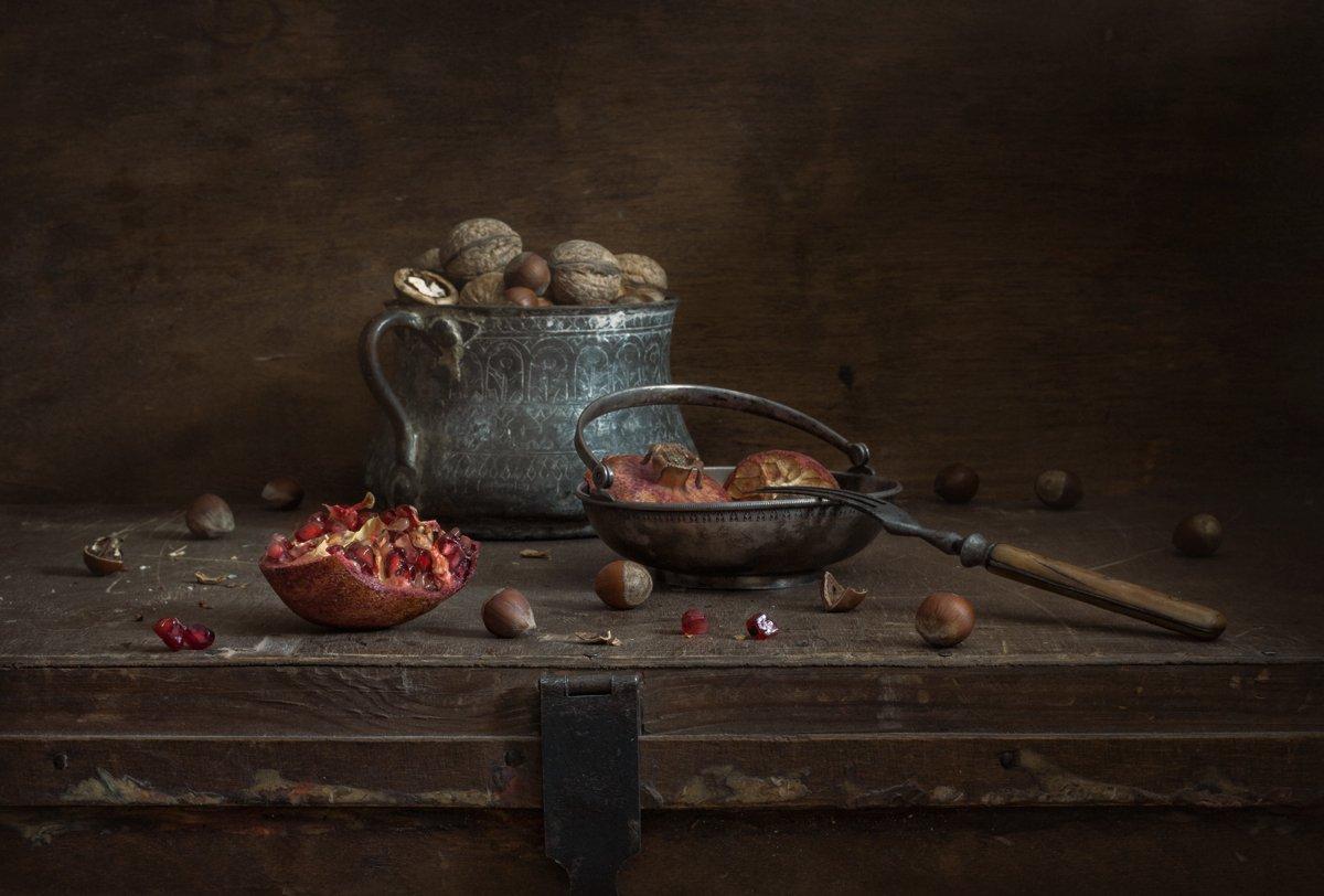 натюрморт, still life, орехи, гранат, евгений корниенко,evgeny kornienko, картина, stilleven, Евгений Корниенко