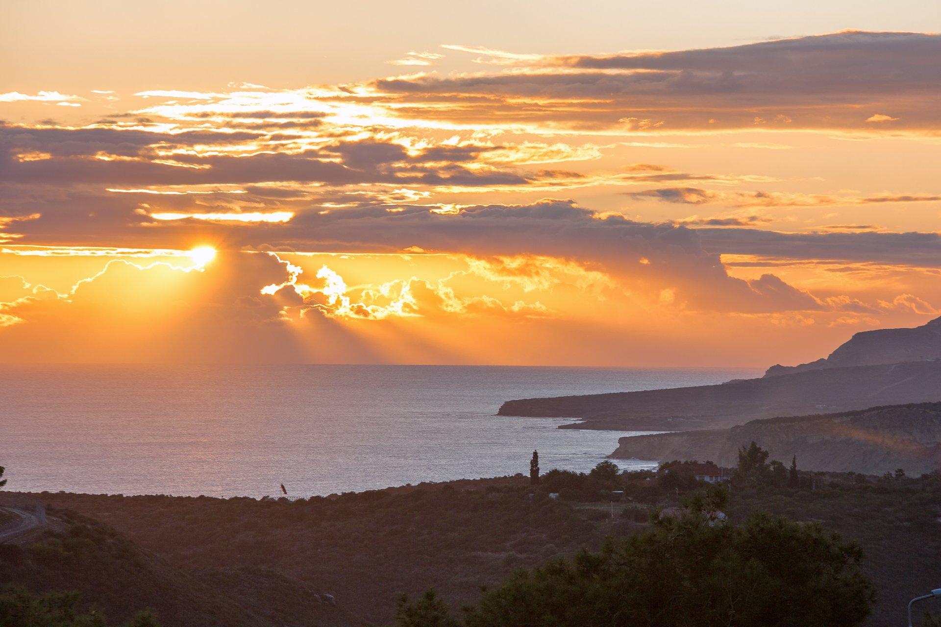 закат, Кипр, солнце, пейзаж, море, горы, вечер, Илья Беленький