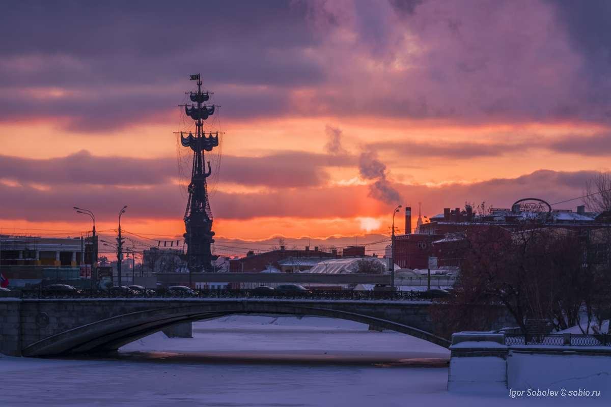 Москва, зима, памятник, Петр I, Moscow, winter, monument, Peter I, Соболев Игорь