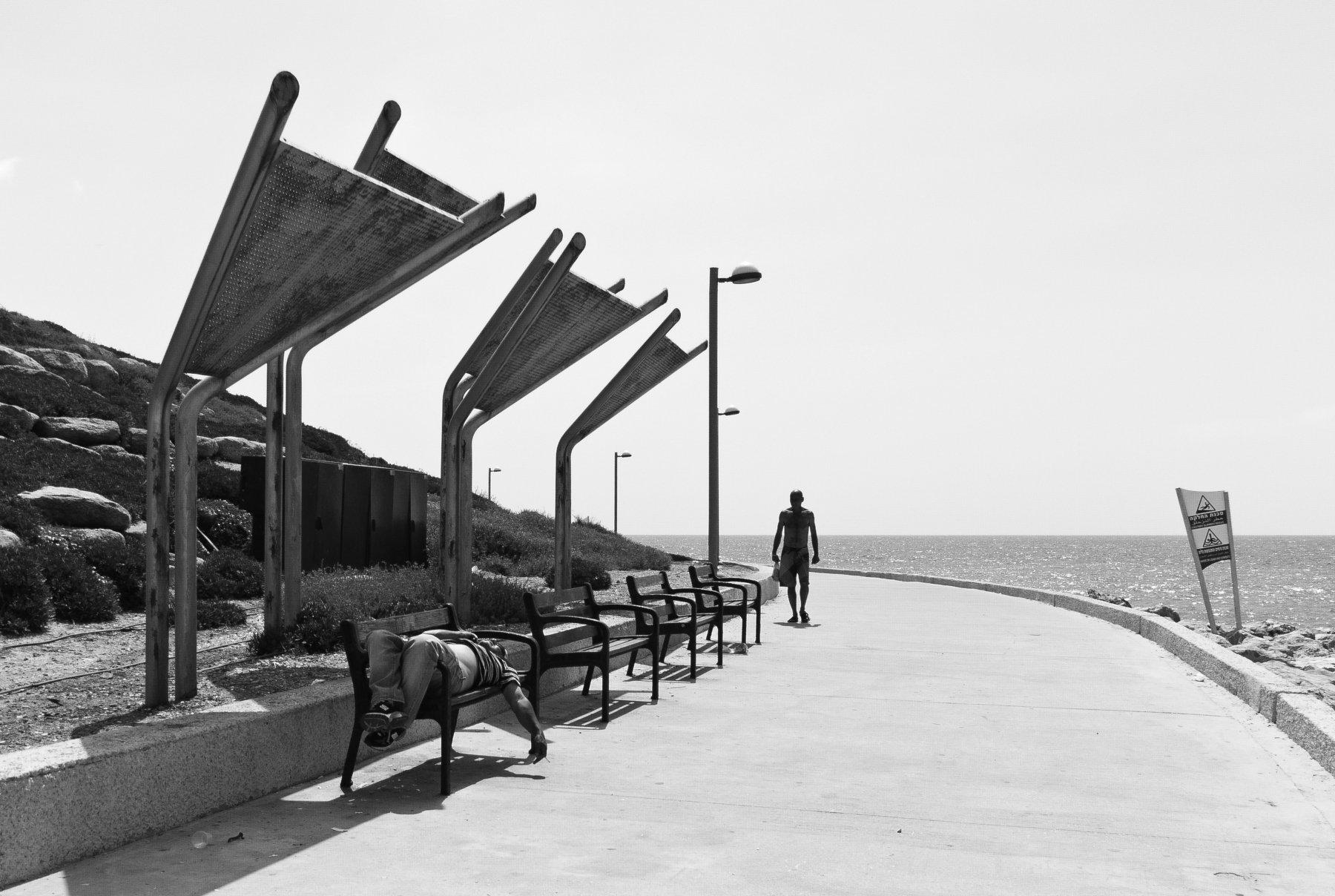 Midday, Street, Black and white, Israel, Jaffa, Lazy, Tel-Aviv, Monochrome, Elena Beregatnova