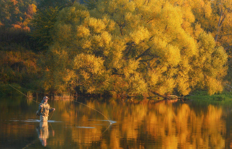 осень, рыбалка, свет, деревья, листья, речка, Евгений Цап