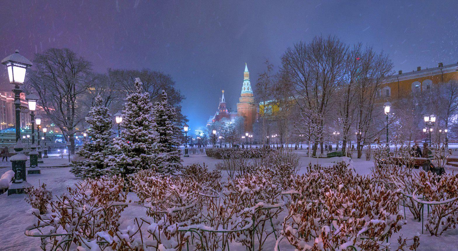 москва, кремль, сад, башня, снег, вечер, москва, Виктор Климкин