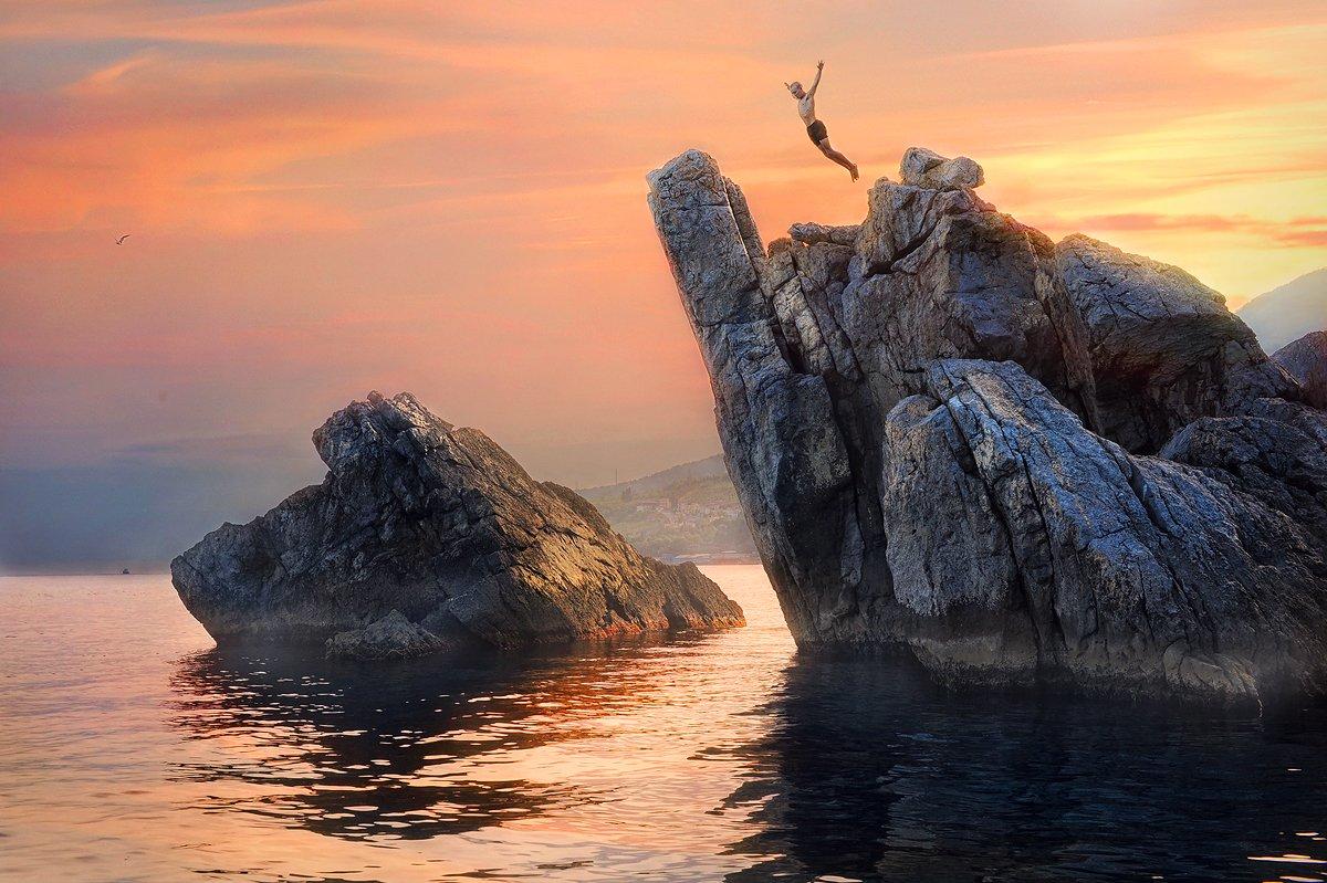 прыжок, Адалары, закат, Ольга Артамонова