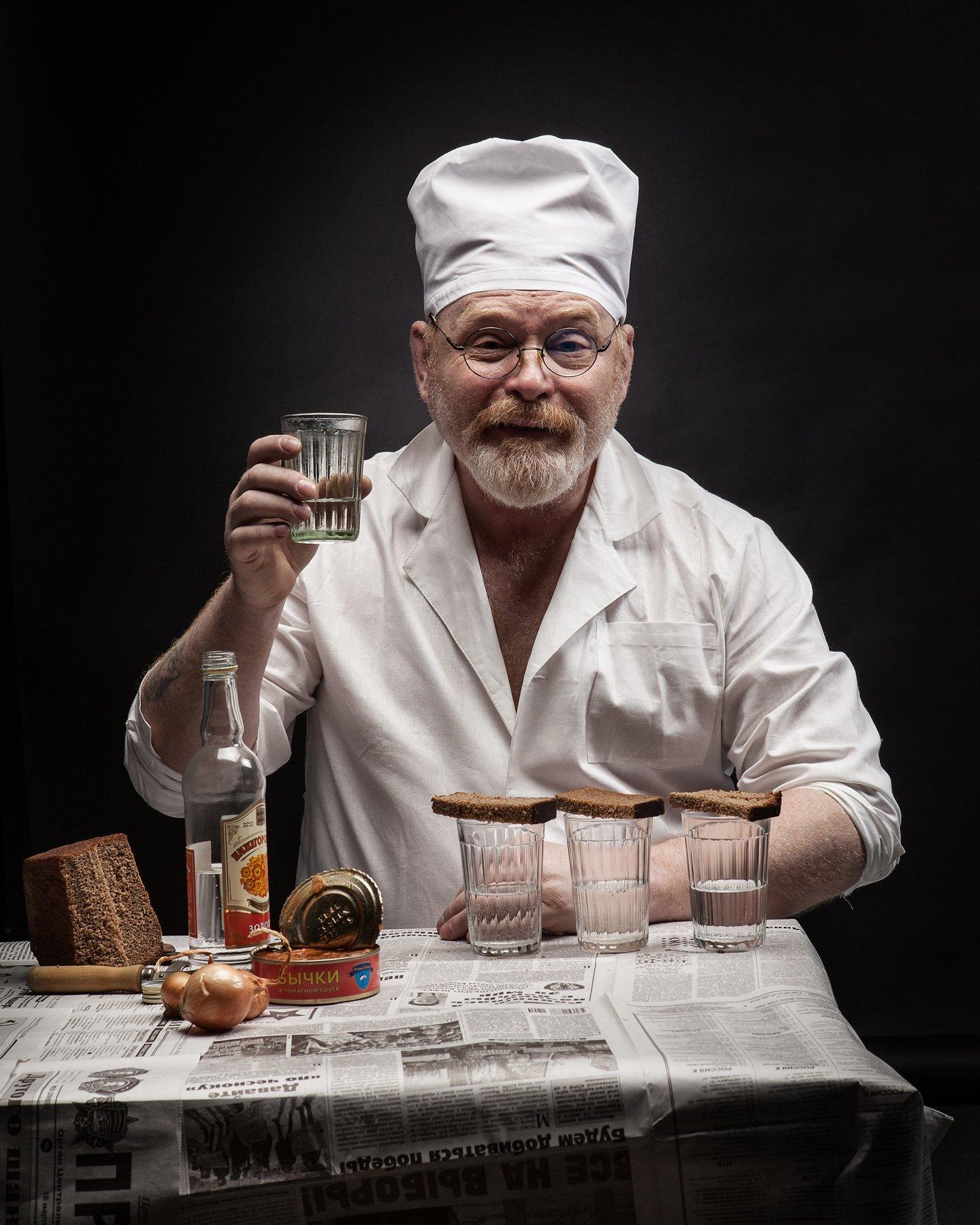 врач водка айболит белый халат поминки, Шипов Олег