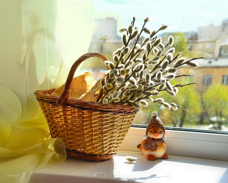 натюрморт,праздник,верба,корзина,солнце,окно,свет,весна,апрель, Инаида