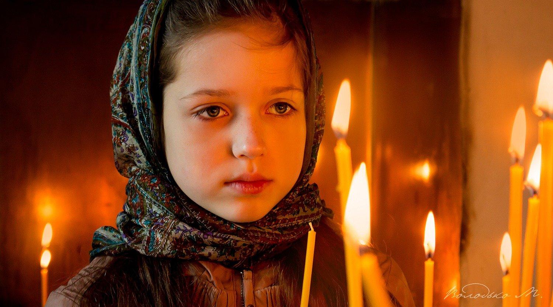 вербное,церковь.свеча,девочка,православие,христианство, Марина Володько