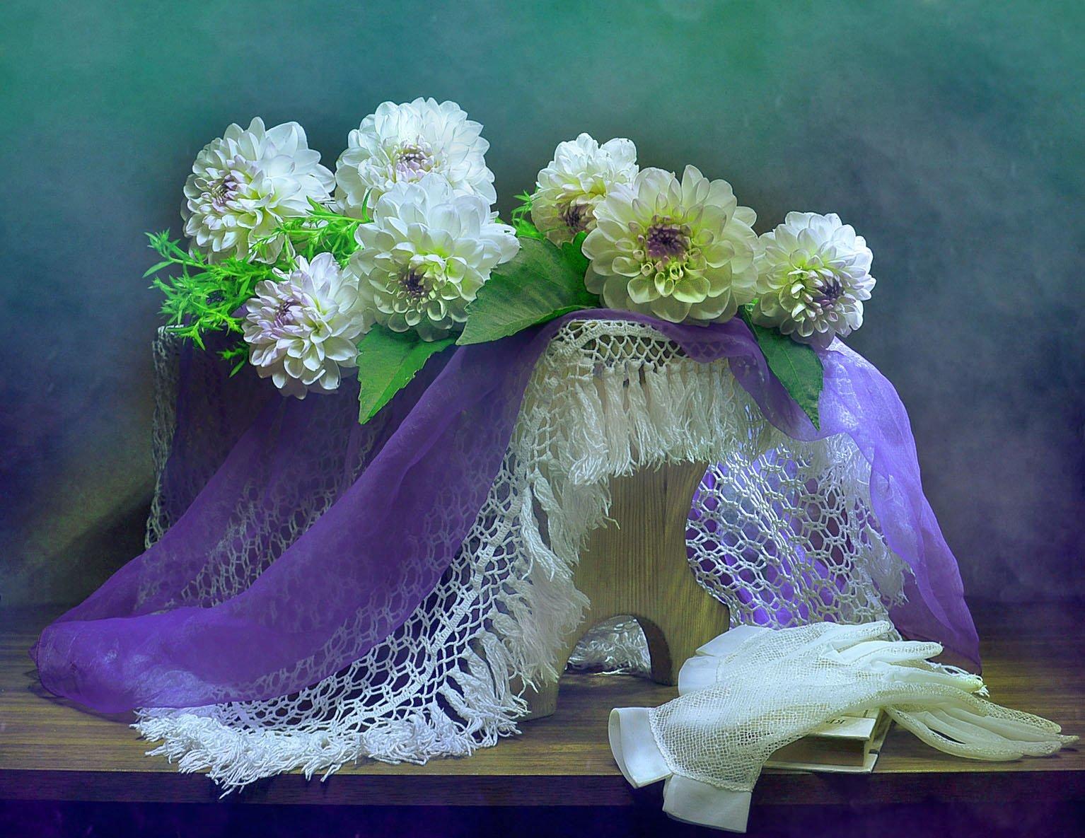 still life, натюрморт,былое,  воспоминание, георгины, книга, настроение, перчатки, стихи, цветы, эвелин, Колова Валентина