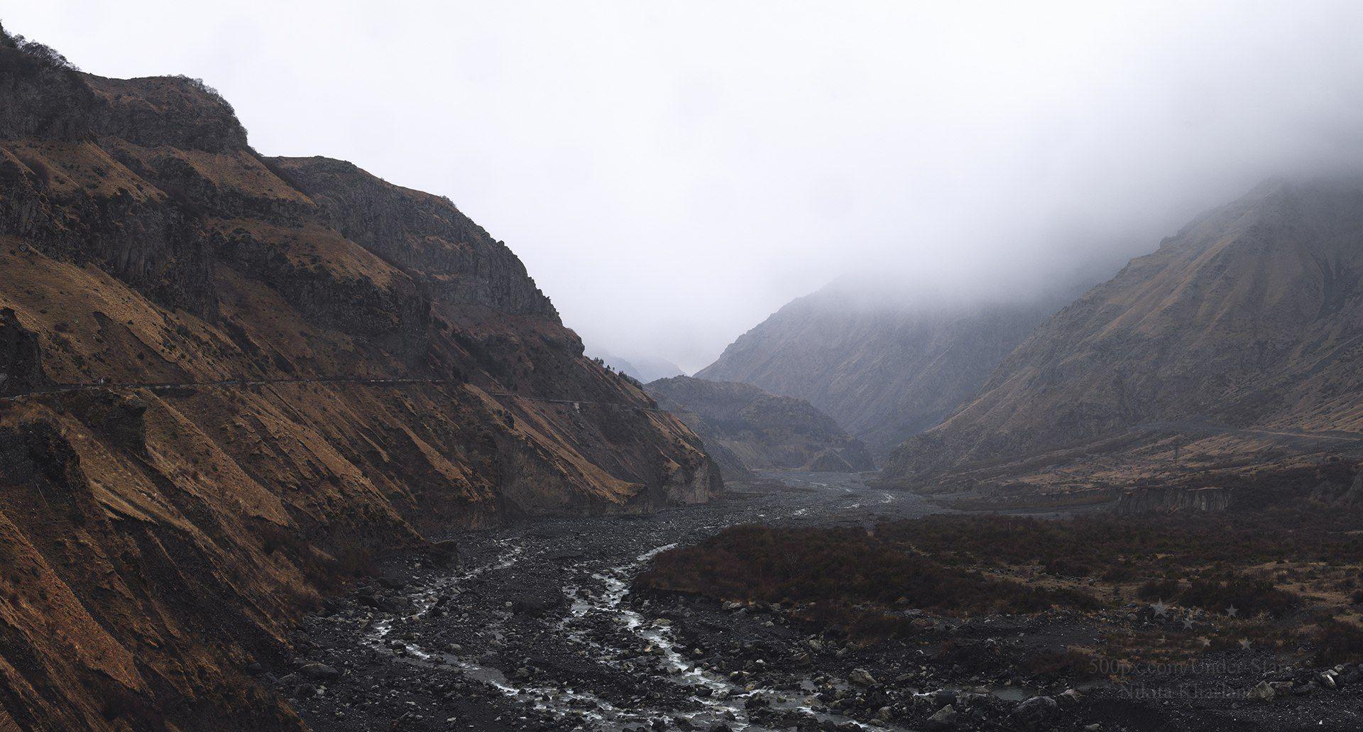 кавказ, грузия, горы, дождь, река, горная река, казбеги, степанцмида, Харланов Никита