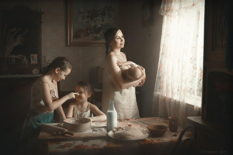 мама, дети, ребёнок, тесто, кухня, винтаж, грудь, окно, Воронцов Игорь