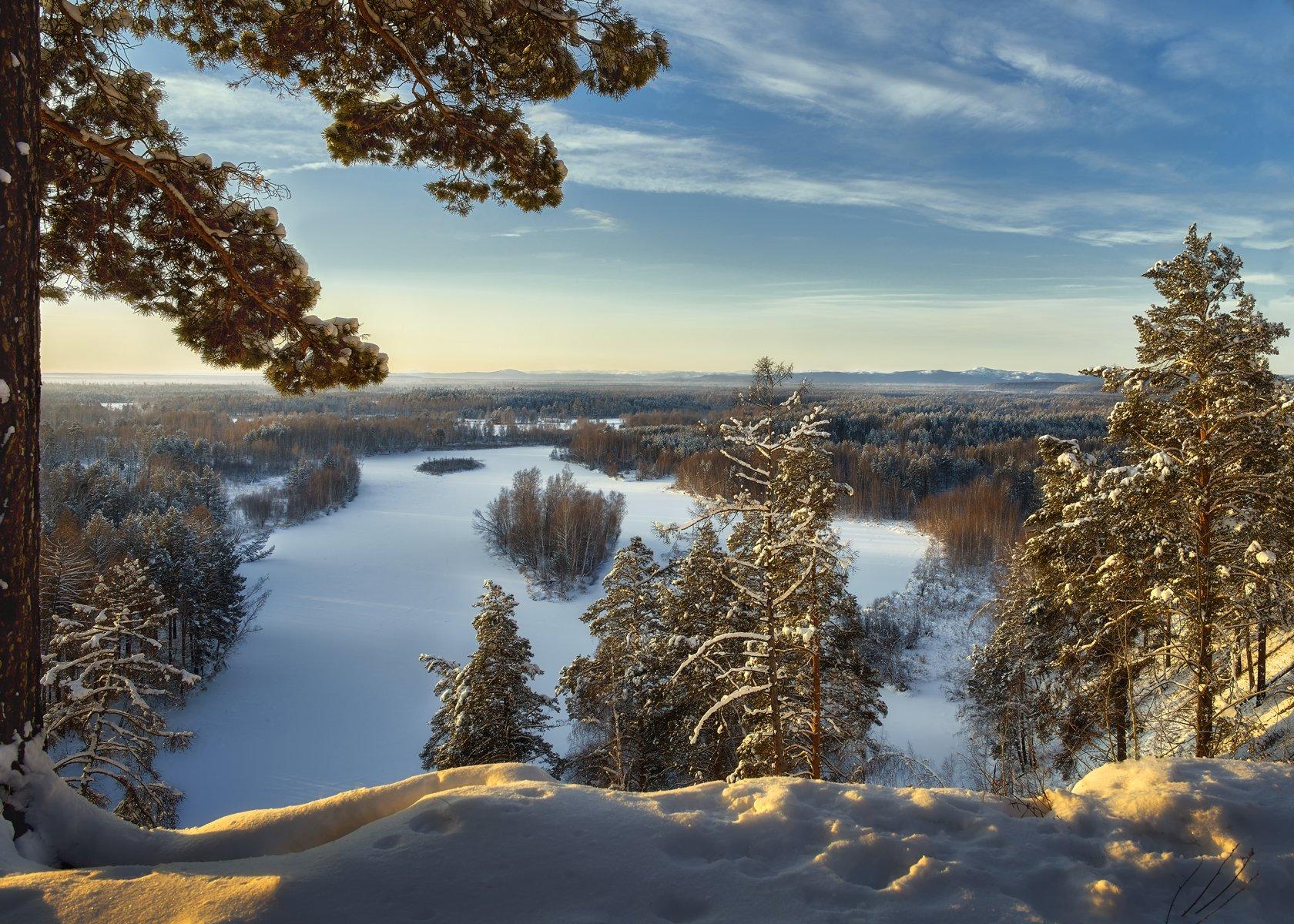 зулумайский  заповедник, река зима ,снег,сосны в снегу,утро,восточные саяны, Сергей