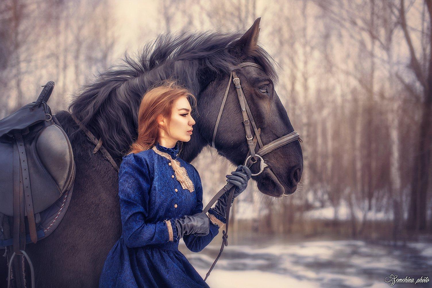 девушка лошадь винтаж, Марина Семёхина
