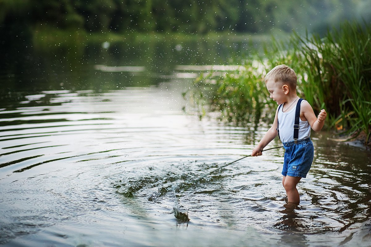 озеро, лето, мальчик, Шелест Людмила