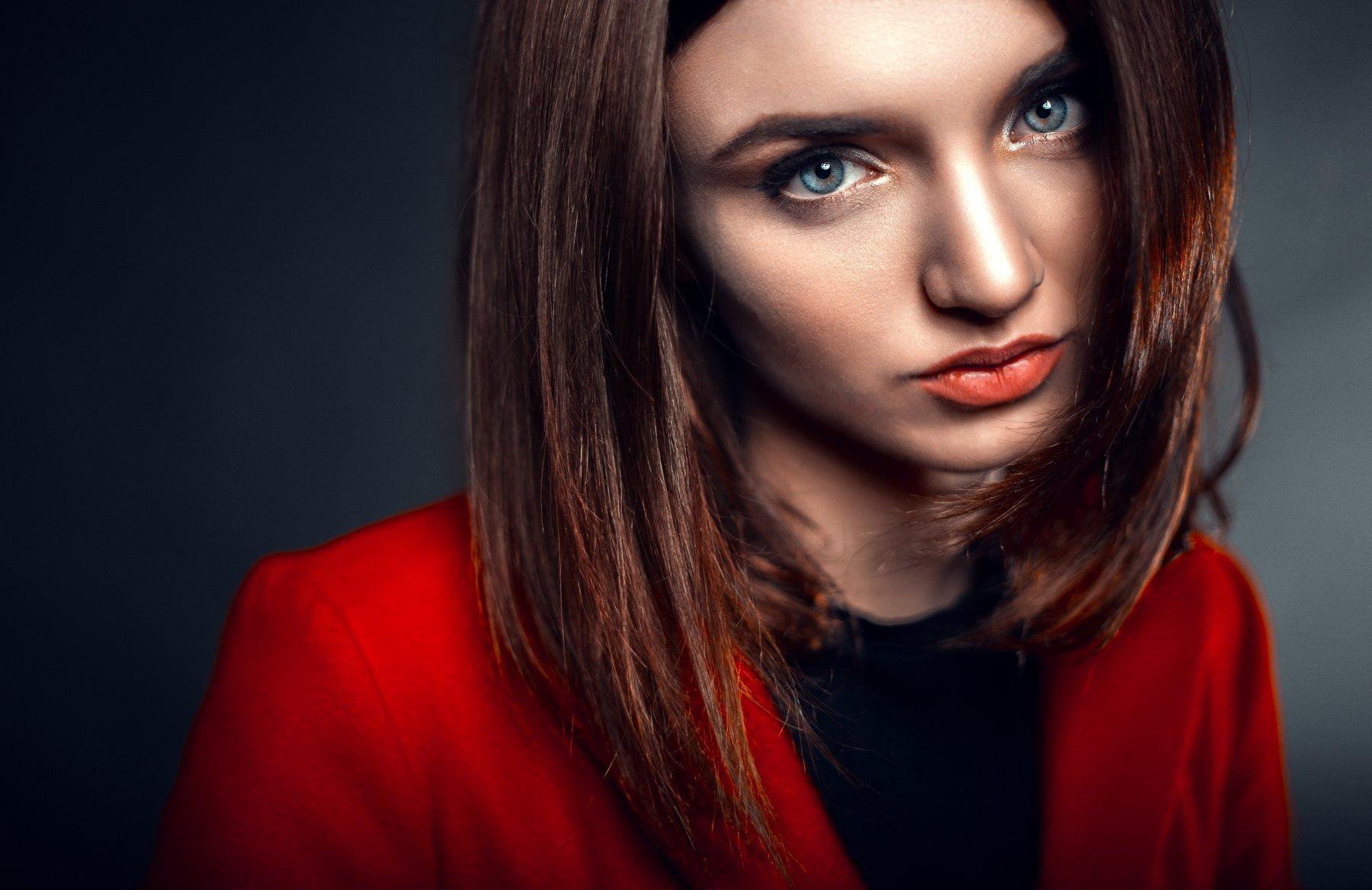 портрет, студия, свет студия, крыпный, лицо, Маховицкая Кристина