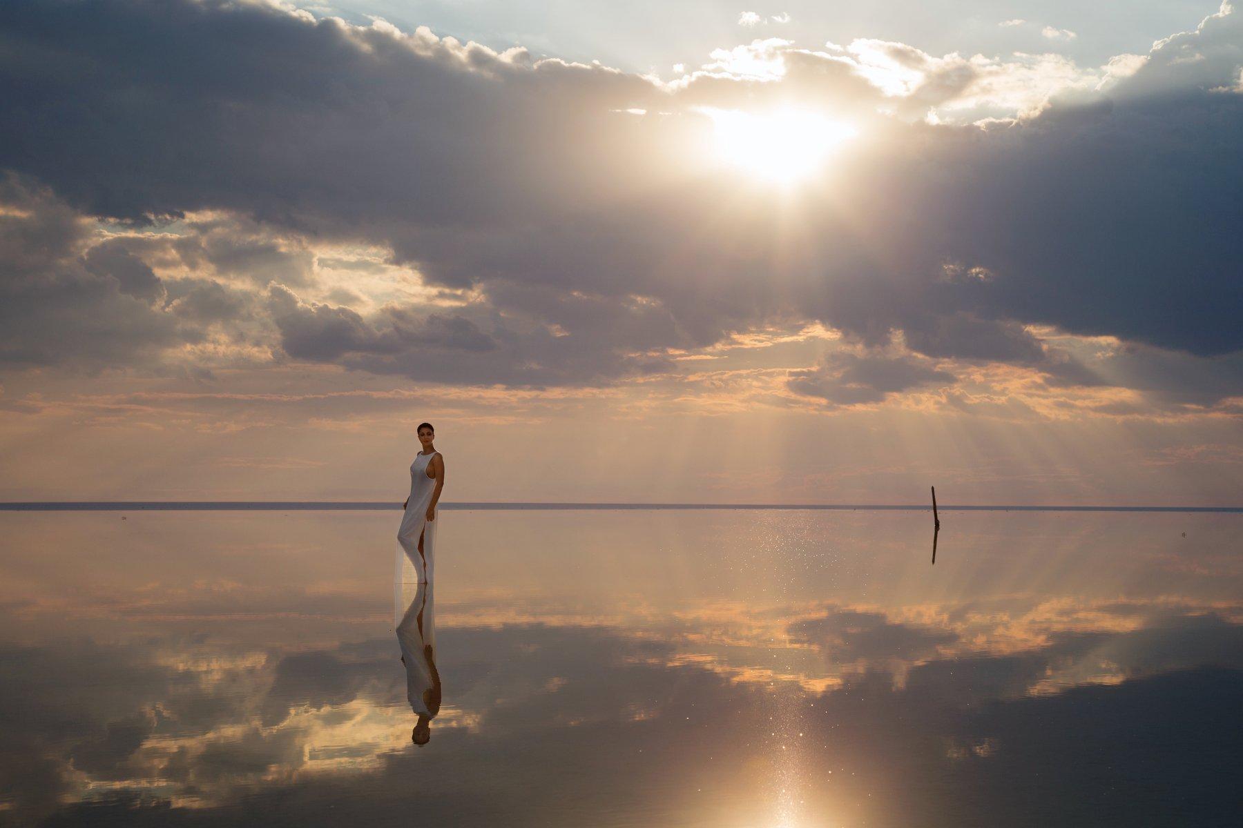 фото , цвет , отражение , небо , солнце , вода , озеро , девушка , эльтон, Федотов Вадим(Vadius)