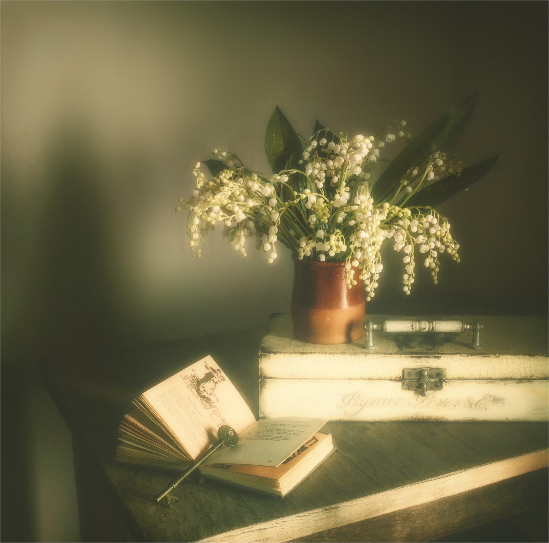 still life, натюрморт,    растение, природа,  винтаж, , цветы, ландыши, букет, книга, ключ, шкатулка, весна, аромат, романтика, нежность,, Михаил MSH