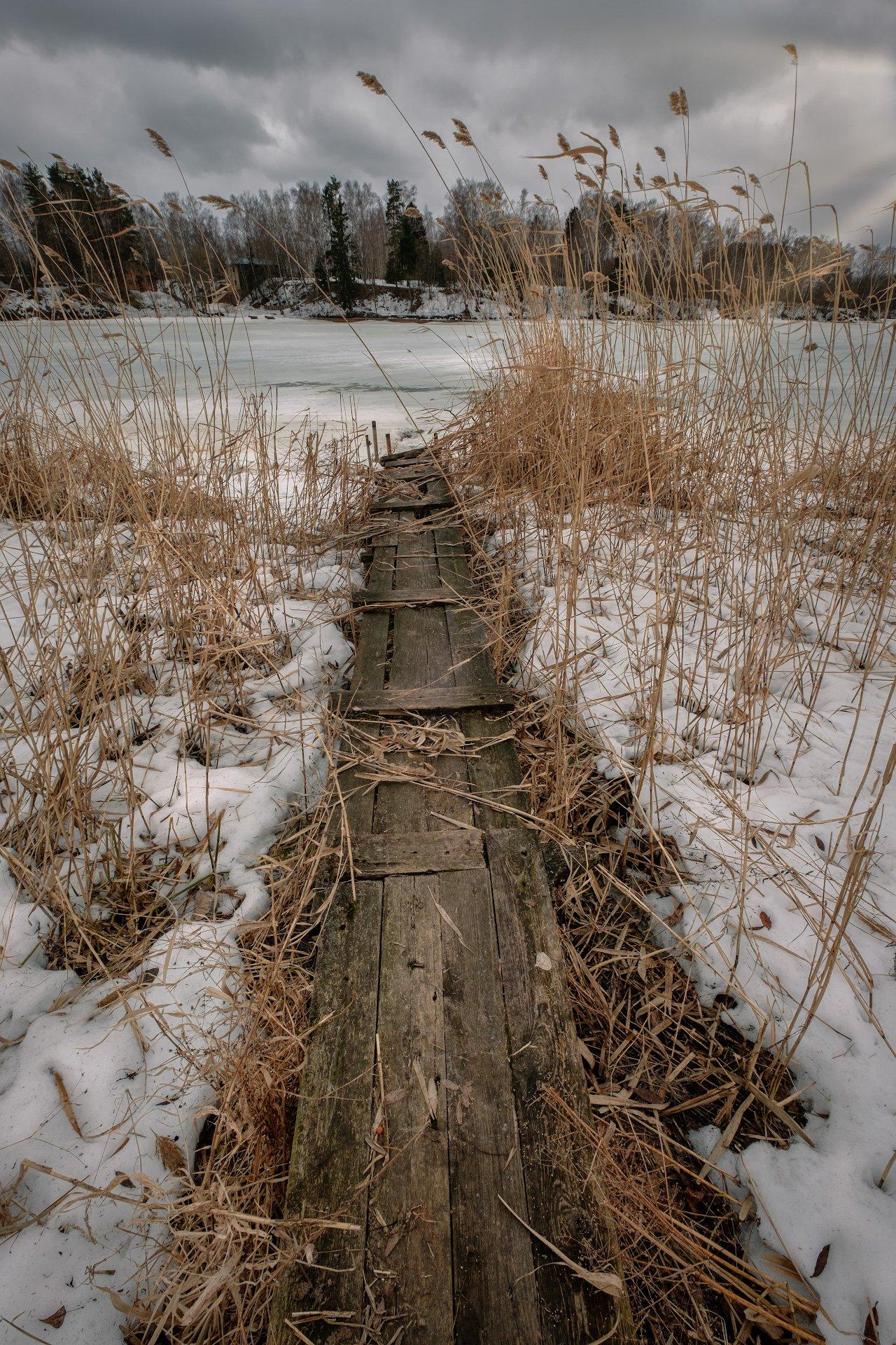 пейзаж, тишково, пирс, лед, снег, трава, камыш, пасмурно, весна, апрель, Андрей Чиж