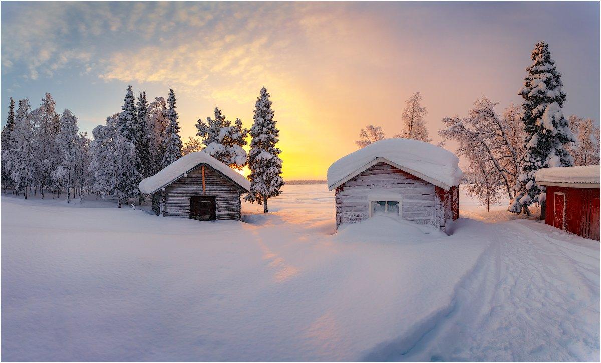 рассвет,утро,восход,домики,швеция,мороз,снег,краски,озеро,лёд, Бузмаков Николай
