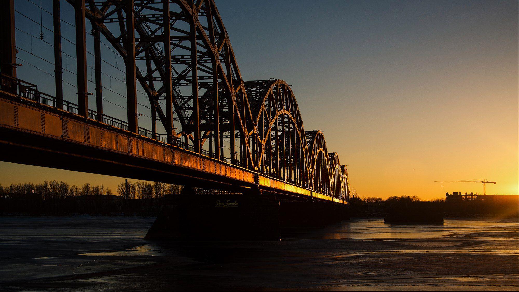 пейзаж, мост, закат, латвия, Томашев Сергей
