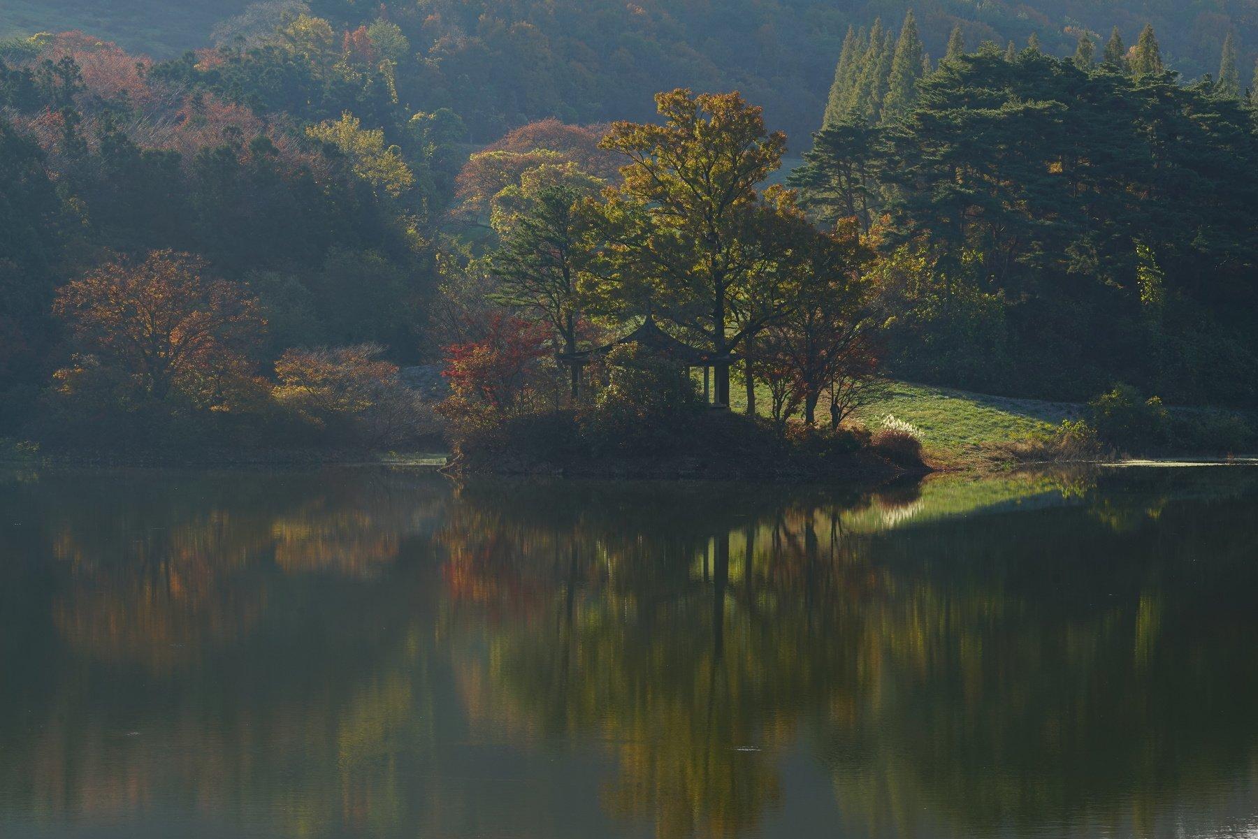korea,chuncheongnamdo,autumn,morning,reservoir,mountain,backlight,reflection,house, Shin